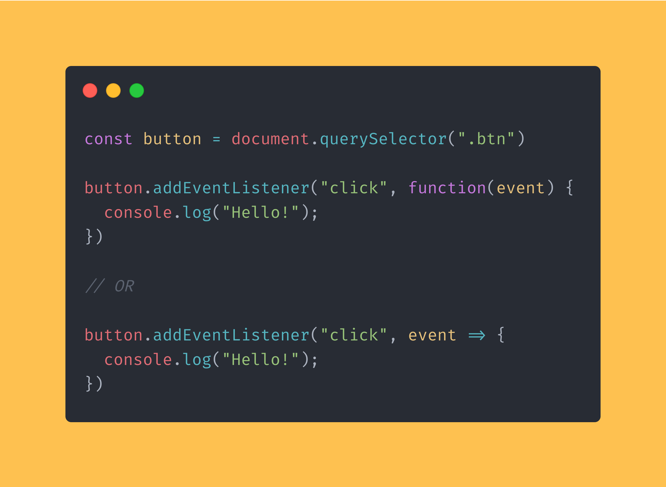 JavaScript code block showing the use of an event listener