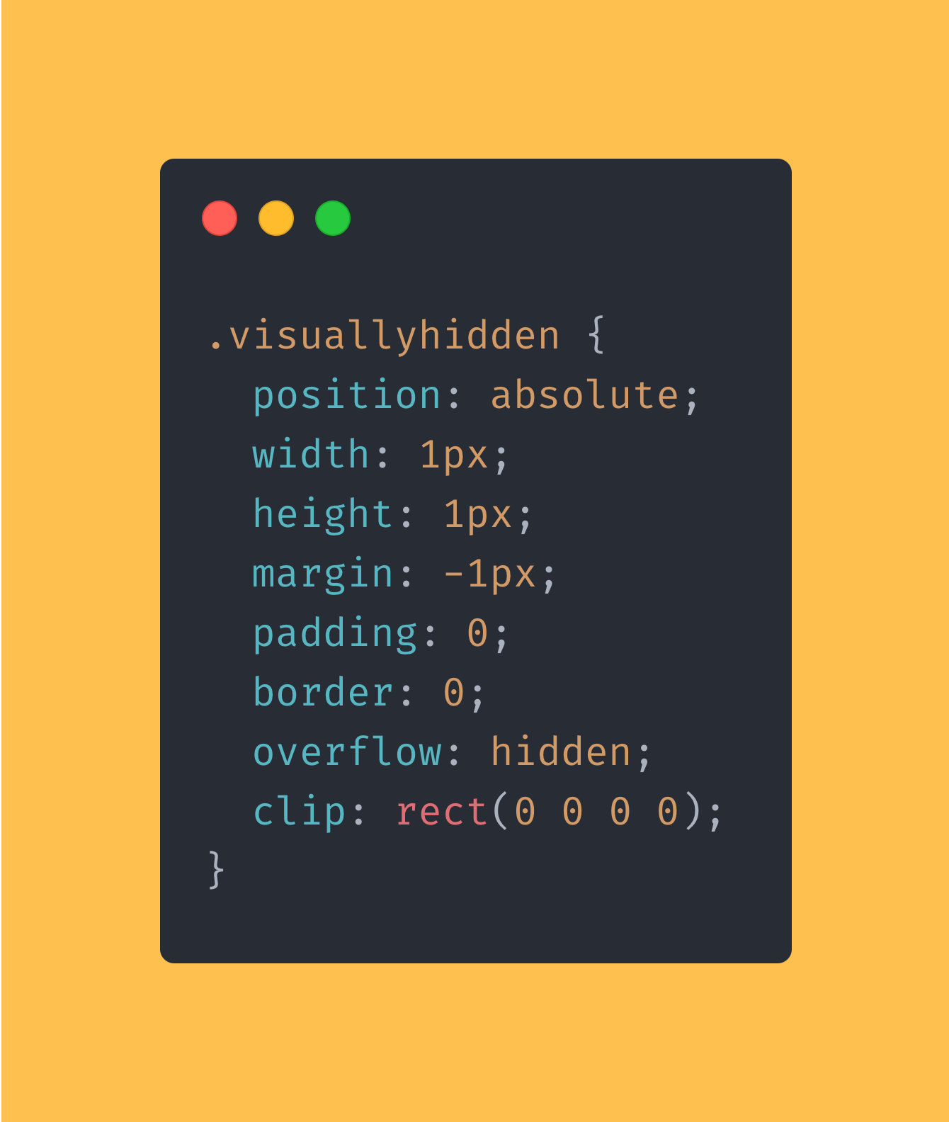 CSS code block showing how you can hide an elements from view but not from a screenreader.