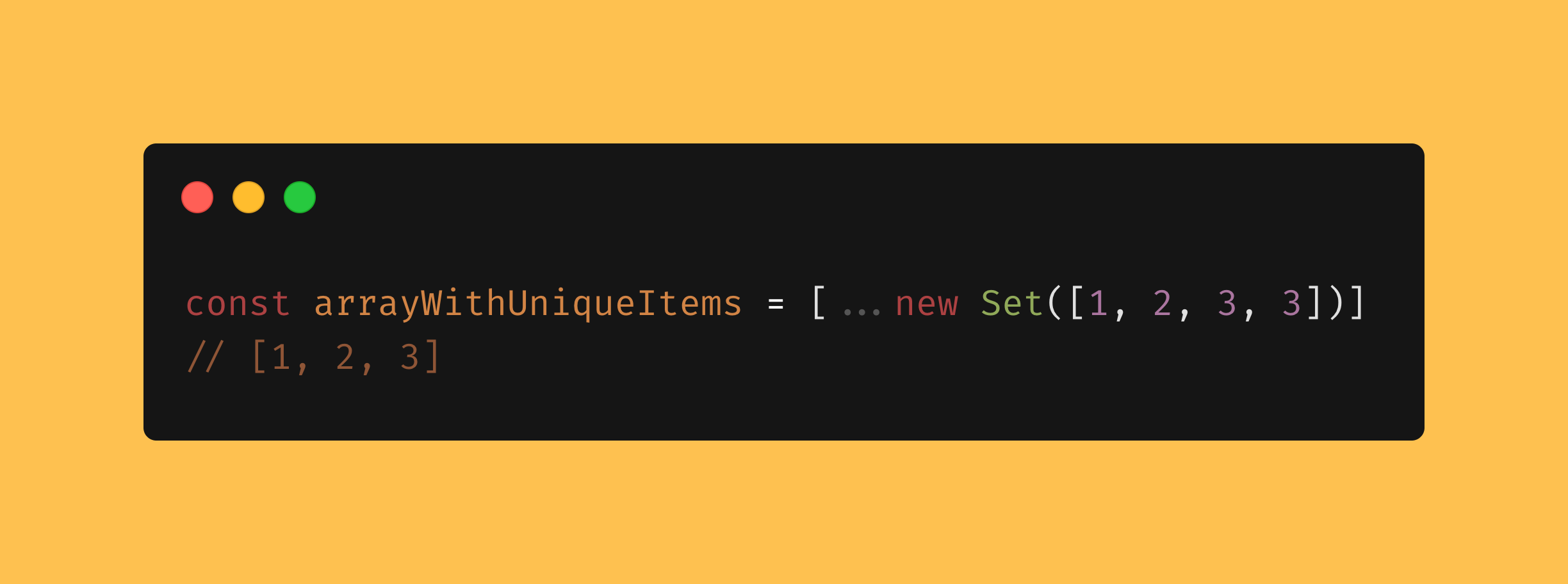 "Create an array with unique items using ""Set"" by That's an Egg blog javascript 2020"