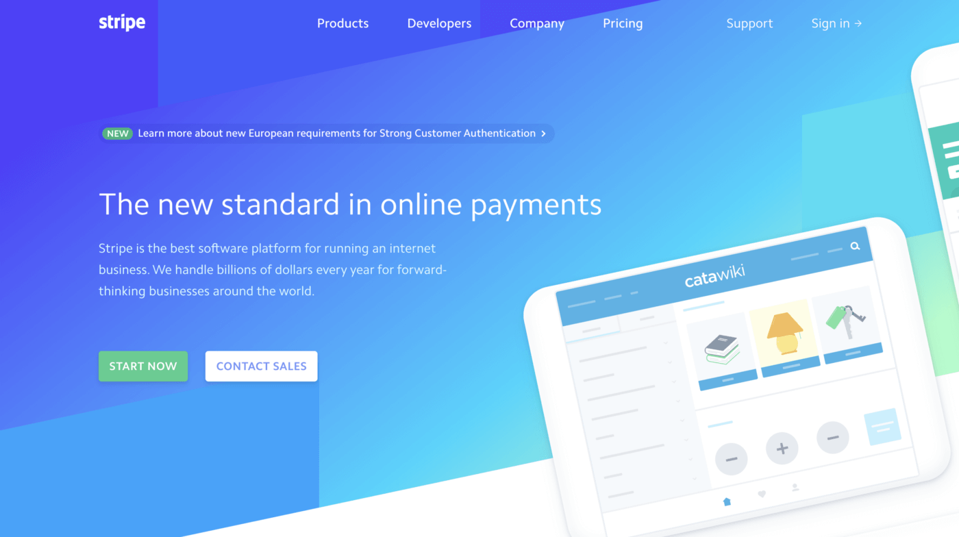 The homepage of the company Stripe