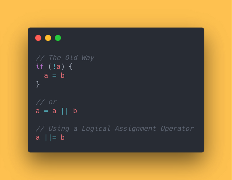 JavaScript Code block showing the use of the logical assignment operator.