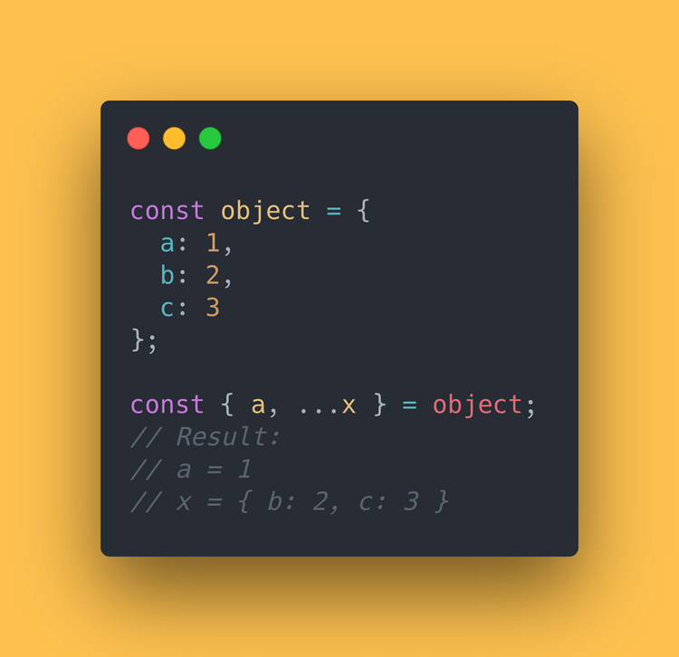 "JS code block showing how to use the spread operator (""…"") on an object"