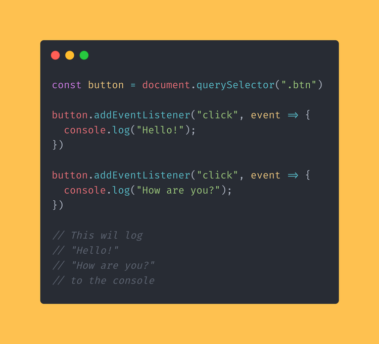 JavaScript code block showing the use of multiple click event listeners.