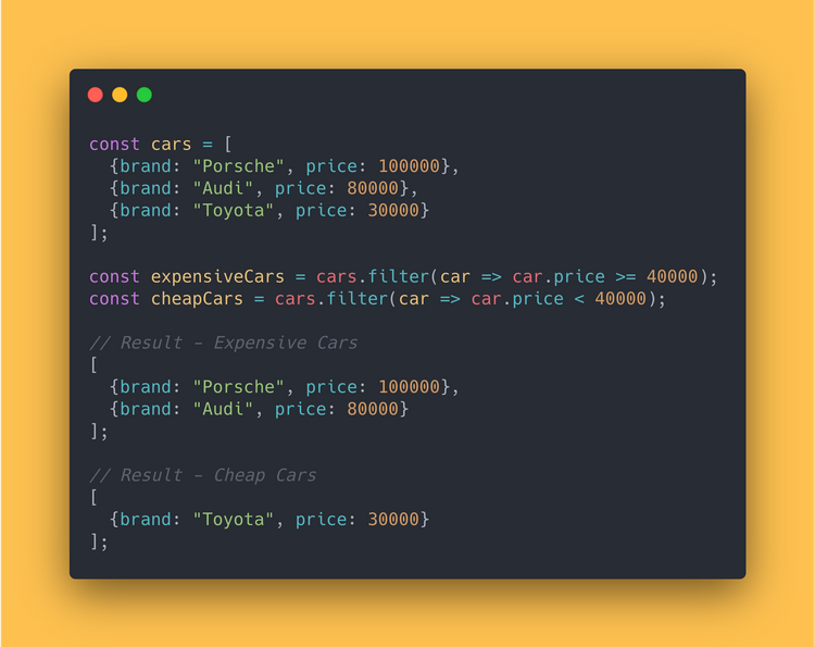 JS code block showing how to use the filter method to filter cheap/expensive cars from an array.