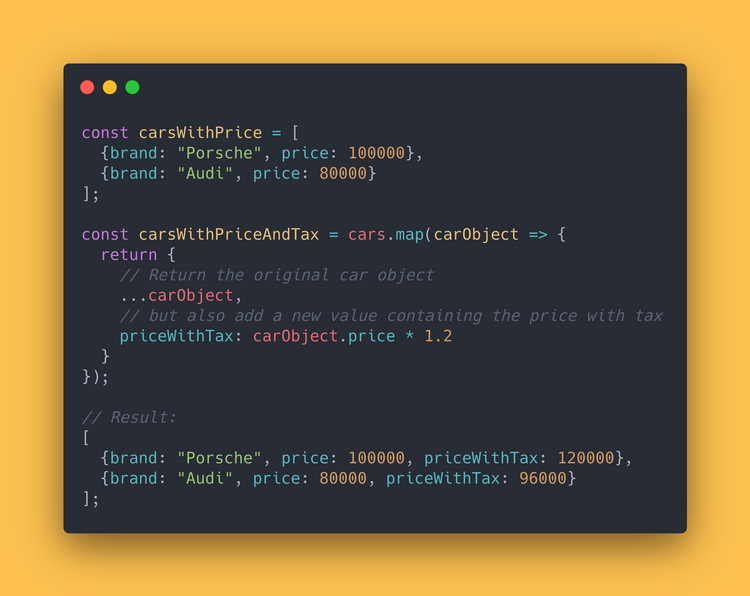 JS code block showing how to use the .map() method to create a new array containing the price with tax