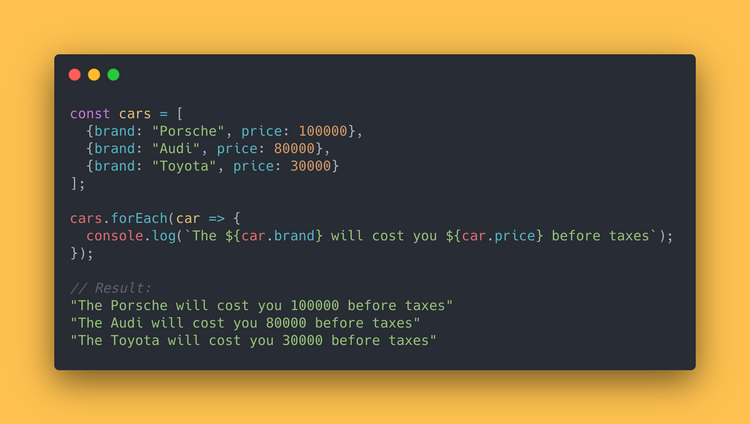 JS code block showing how to use the forEach method to loop over all cars and log text showing its brand and price.