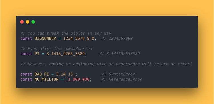 JavaScript Code block showing how to use the numeric separator (underscore).