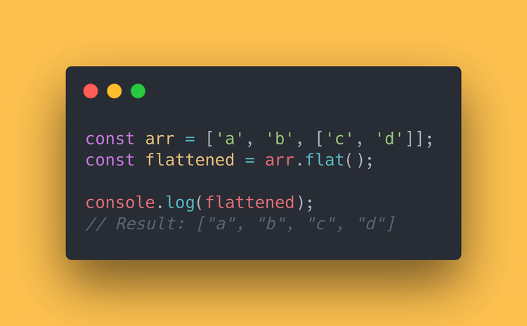 "JS code block showing the old way of flattening an array, using ""concat""."