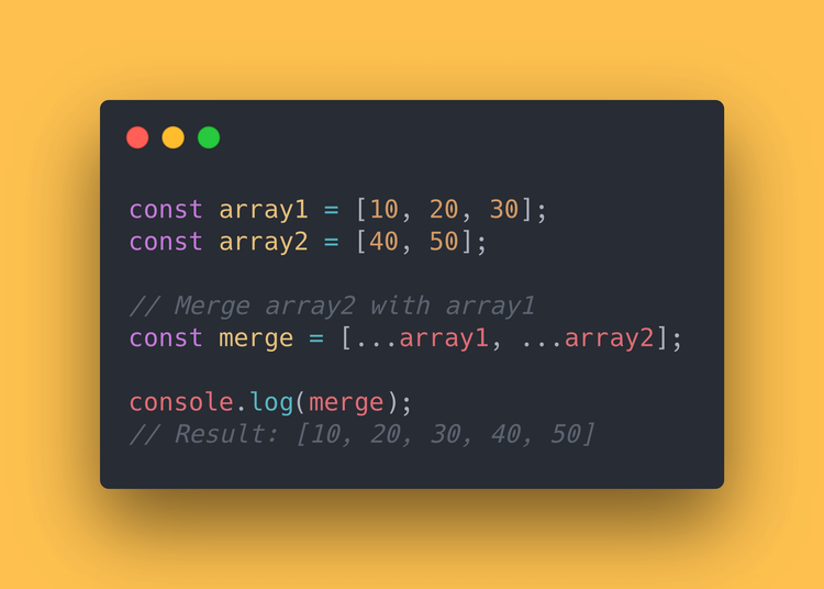 "JS code block showing how to use the spread operator (""…"") to merge 2 arrays"