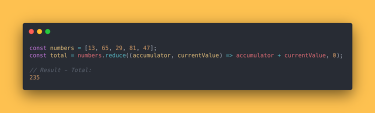 JS code block showing how to use the reduce method to add up all values of an array.