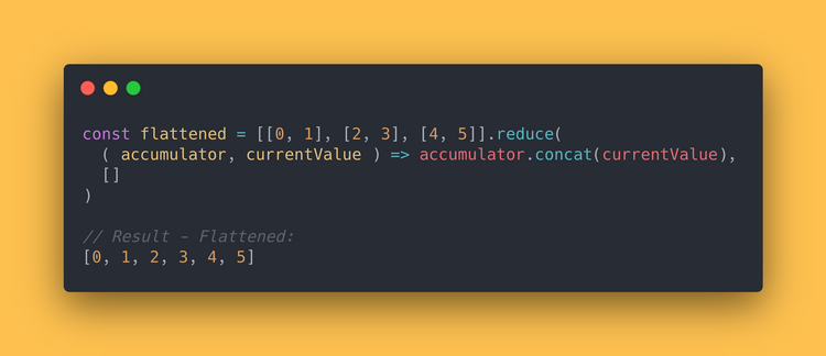 JS code block showing how to use the reduce method to flatten an array.