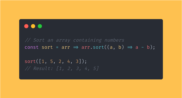JavaScript function that sorts an array containing numbers